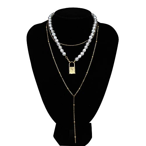 ZYJ Ensemble Punk Multi Layer Imitation Pearl Choker Collier Collier Boho Lock Longue Chaîne Collier Femmes Bijoux,A