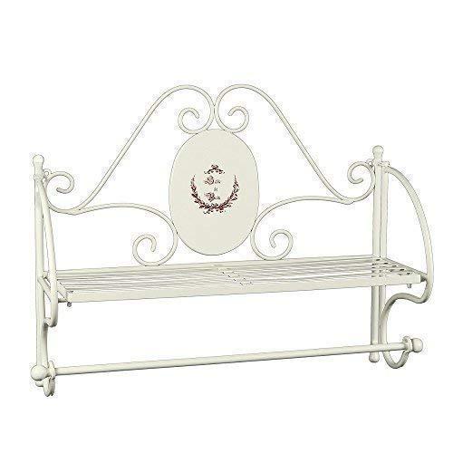 linoows Nostalgie Handtuchhalter, Badezimmer Regal mit Handtuch Stange, Eisen Weiß