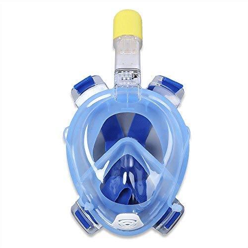 Wsobue Máscara de Buceo, Gafas Snorkel 180° Panorámica Vista Anti-Niebla Apoyo Camara Deportiva, Anti-Fugas Máscara de Snorkel para Adultos y niños (Azul S/M)
