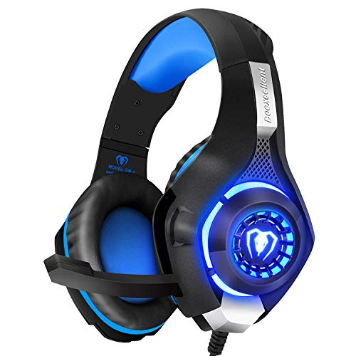 BlueFire Cuffie Gaming per Xbox One, Cuffie da Gioco con 3.5mm Jack LED e Microfono Insonorizzato,Bass Stereo Audio Surround Cuffie da Gaming per PS4 Xbox One S Nintendo Switch PC Laptop(Blu)