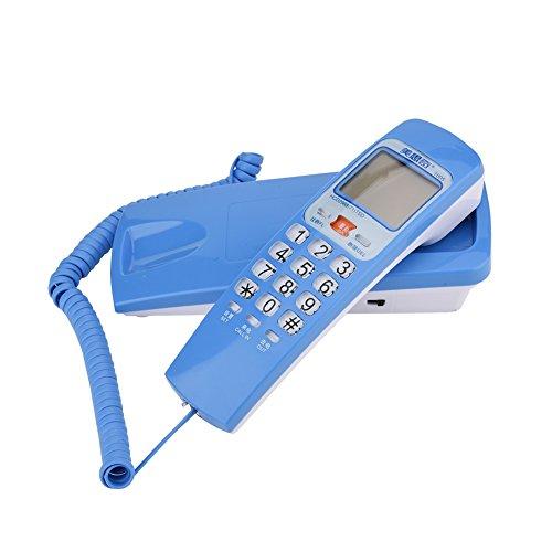 Bewinner FSK/DTMF Teléfono con Cable Estándar - Función de Devolución de Llamada de Asistencia y Reproducción de Sola Tecla - Adecuada para el hogar o la Oficina(Azul)