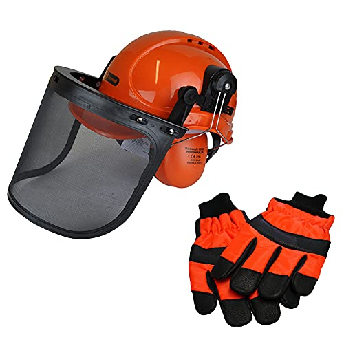 An image of the Chainsaw Safety Helmet/Hard Set & Extra Large Gloves