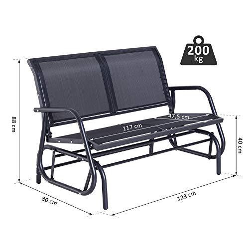 Outsunny Sitzbank, Metall, grau, 123 x 70 x 87 cm, 01-0893 - 3