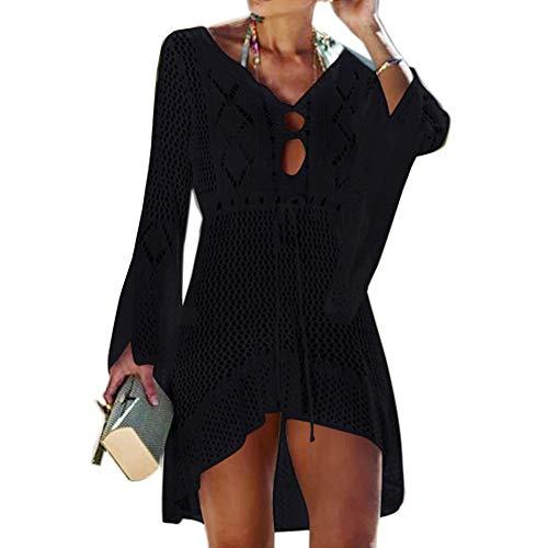 Tacobear Gestrickte Strandkleid Damen Sexy Bikini Cover Up Strandponcho Sommerkleid Sommer Bademode Strand Pareo für Damen (Schwarz)