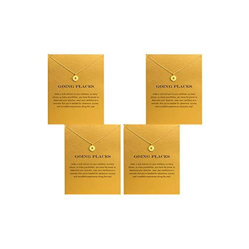 QXFQJT Friendship Elephant Necklace Set Unicorn Anchor Key Compass Sun Graduation Necklace with Meaning Gift Card,4PCS (Compass-gold)