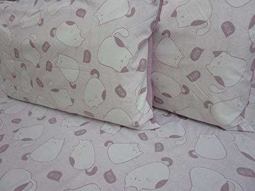 Pago Poco Bettwäsche-Set aus superweicher Mikrofaser, Motiv Katzen, für Doppelbett, für französisches Bett ! 160 x 190 cm Rosa