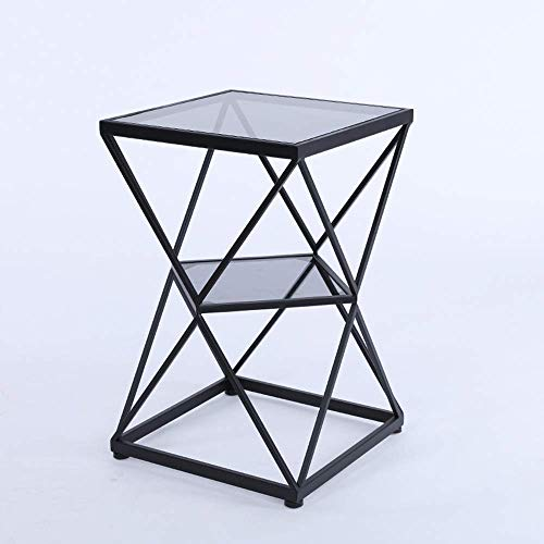 NBVCX Furniture Decoration Square Side Table Tempered Glass Coffee Table Telephone Table Bedside Table Sofa Side Table 2 layer Storage Shelf 40 * 40 * 60CM (Color : A) (Color : D)