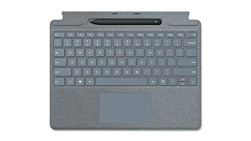 Microsoft Surface Pro X Signature Clavier QWERTZ avec Stylet Fin Bleu Glacier