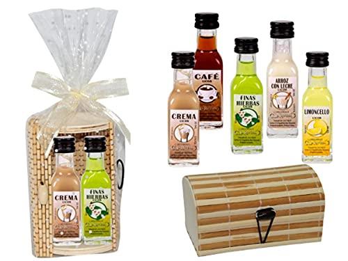 Lote de 12 Cajas de Mimbre-Bambú + Cinta y Bolsa Celofán con 2 Botellas de Licores La Rivera (A ELEGIR). Regalos Originales. Detalles de Bodas, Bautizos, Comuniones y Eventos. (CAFÉ)