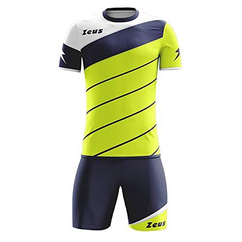 Kit Zeus Lybra Uomo Giallo Fluo-Blu-Bianco Completino Completo Calcio Calcetto Torneo Scuola Sport Training Volley Pegashop (L)