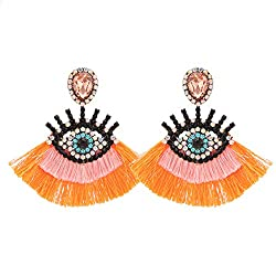 Orange Geometric Fringed Multicolor Drop Earring With Rhinestones