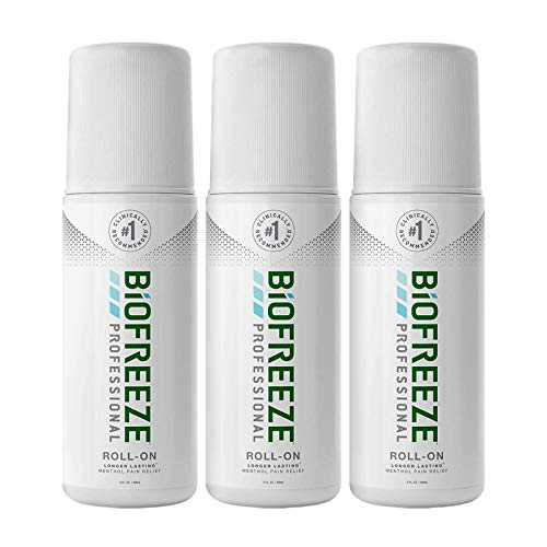 Biofreeze Professional Pain Relief Roll-On, 3 oz. Bottle, Green, Pack of 3