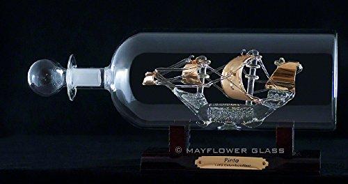 'pinta nave in bottiglia di vetro placcato oro a mano ornamento dorato per decorazione/regali presentato by Sterling Effectz