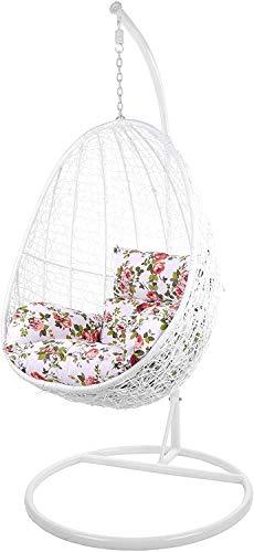 Kideo Swing Chair Indoor & Outdoor, Loungesessel polyrattan, Hängestuhl, Hängesessel mit Gestell & Kissen (weiß/geblümt)