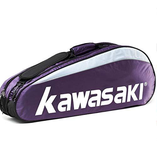Rucksack Badminton-Tasche mit 3 Stangen für Männer und Frauen, unabhängig von Schuhen, 1 Schultertasche, Violett, 3 Packungen