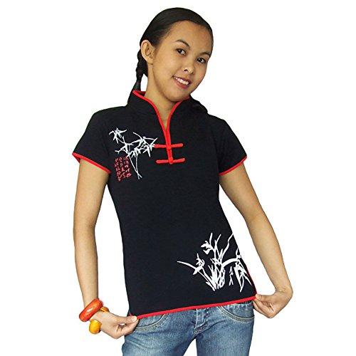 Damen Asia China Yoga,Tai Chi & Meditations Shirt Baumwolle Schwarz XL