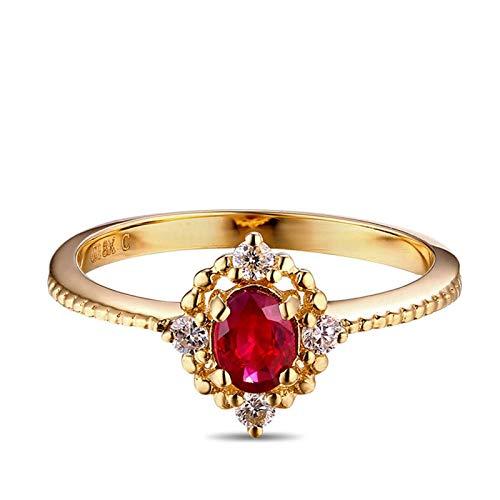 Beydodo Goldring 18 Karat Damen Blume mit Oval Rubin 0.33ct Hochzeit Ringe für Frauen Trauringe Diamant Große 53 (16.9)