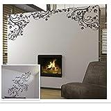 Elegante flores artificiales habitación ventana decoración del hogar pegatinas de pared negras calcomanías de vinilo para...
