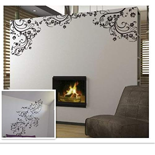 Elegante flores artificiales habitación ventana decoración del hogar pegatinas de pared negras calcomanías de vinilo para pared