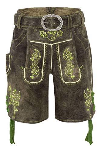 Spieth & Wensky Jungen Kinder Lederhose mit Gürtel und grüner Stickerei kurz braun, AVENTIN/2029, 152