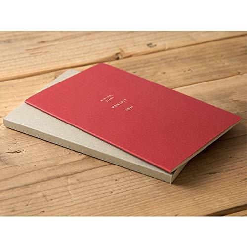 デザインフィルミドリミニマルダイアリー手帳2021年B6マンスリー月間赤22073006(2020年10月始まり)