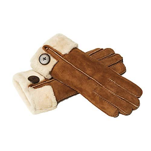 YISEVEN Damen Shearling Lederhandschuhe mit Warm Gefüttert Winter Lammfell Leder Autofahrer Handschuhe, Kamel S