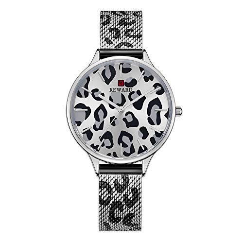 Mujer Relojes, L'ananas 2019 Retro Estampado de Leopardo Banda de Malla Término análogo Cuarzo Relojes de Pulsera con Caja de Regalo Women Watches Wristwatches (Plata)
