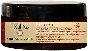 Tahe Organic Care 3 Protect Crema Capilar Protectora con Protección Solar y UV   Crema de pelo Aceite de Coco - Oliva - Argán, 300 ml