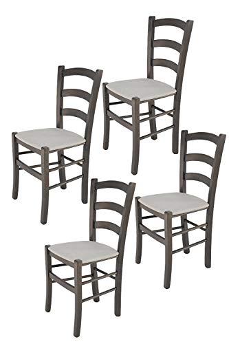 Tommychairs - Set 4 sillas Venice para Cocina y Comedor, Estructura en Madera de Haya Color anilina Gris Oscuro y Asiento tapizado en Tejido...
