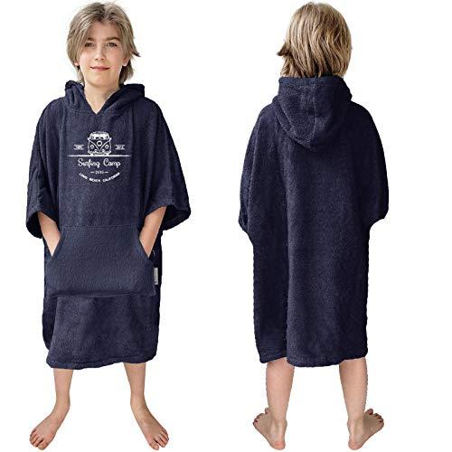 HOMELEVEL Poncho de playa de rizo para niños con capucha y bordado, 100% algodón, poncho de playa, poncho de baño (6-9 años, azul marino)
