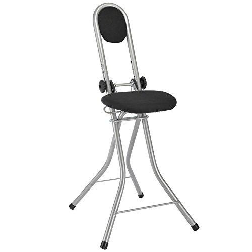 Steh- und Sitzhilfe mit 4 Einstellungen von 55-64cm, TÜV-GS-Geprüfte Qualität: Stehsitz Stuhl Stehhilfe Bügelhilfe Bügelstuhl Stehstuhl Stehhocker, Mit Rückenpolsterung aus Schaumstoff, Sitz: schwarz