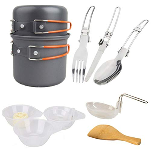 WINOMO Camping Cookware Mess Kit Portable Cookset Folding Camping Pots Metal Cutlery Wooden Shovel Bowls Cooking Equipment for Hiking BBQ