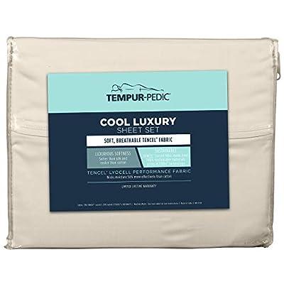 Tempur-Pedic Cool Luxury Sheet Set – Luxurious Softness – Queen, Sand Dollar - Includes 2 Standard Pillowcases, 1 Queen Flat Sheet, 1 Queen Fitted Sheet