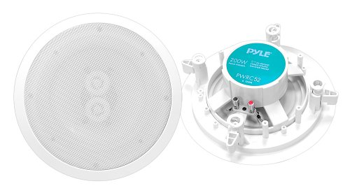 "5.25"" Ceiling Wall Mount Speakers - 2-Way Weatherproof Full Range Woofer Speaker System Flush Design w/ 65Hz-22kHz Frequency Response 200 Watts Peak & Template for Easy Installation - Pyle PWRC52"