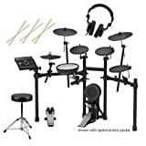 Roland TD-17KL V-Drums Electronic Drum Set - 3x H&A Drum Sticks, Wood Tip, Pair - H&A Double-Braced Drum Throne - H&A Closed-Back Studio Monitor Headphones