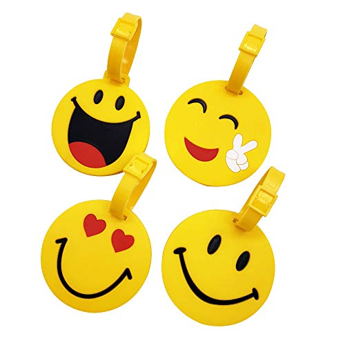 Mziart Cute Emoji Luggage Tags Set of 4, Personalized Smiling Face TSA Travel Bag ID Suitcase Labels for Kids Women