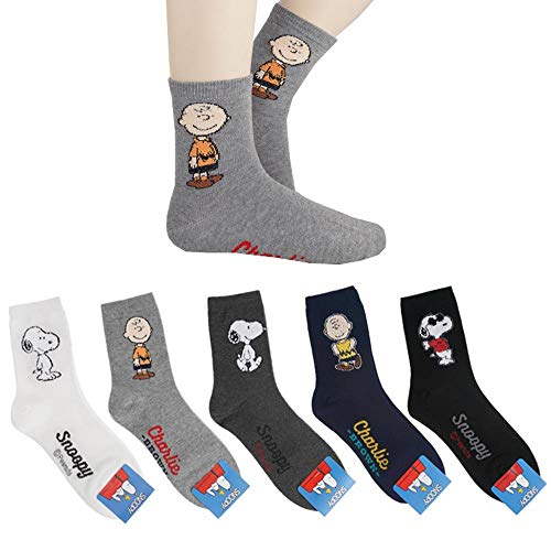 Die Peanuts Comics Charlie Brown, Snoopy Charakter Mannschafts Socken 5 Paaren