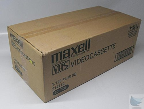 New Case of 50 Maxell VHS Video Cassette T-120 Plus Tapes