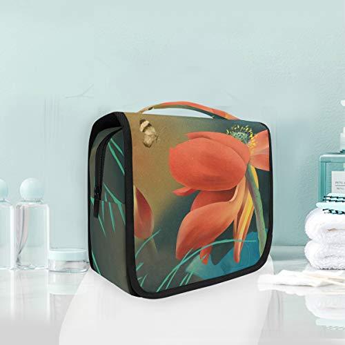 Mr.XZY Bolsa de maquillaje con estampado de flores de loto para cosméticos de mariposa bonito patrón multifunción portátil de tren con cremallera bolsa de aseo para mujeres y niñas 2010214