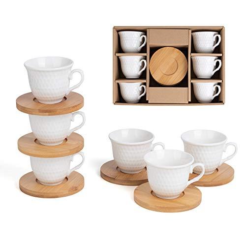 JUJOYBD Kaffeetassen 12 TLG Espressotassen Set, Kleine Porzellan Tassen mit Bambus Untersetzer - Kaffeeservice 6 Tassen / 6 Untertassen - Kaffeetassen für 6 Personen, 80ml
