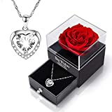 COTTONIX Rosa Eterna Caja Collar de Plata 925, Regalo Madre Cumpleaños para Día de la Madre, día de San Valentín, Aniversario