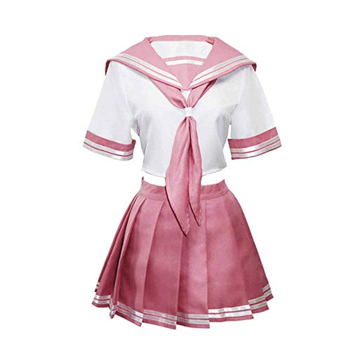 XCJLW Anime Fate Astolfo Cosplay Costume School Uniform Sailor Dress Outfit (Small, Pink Costume)