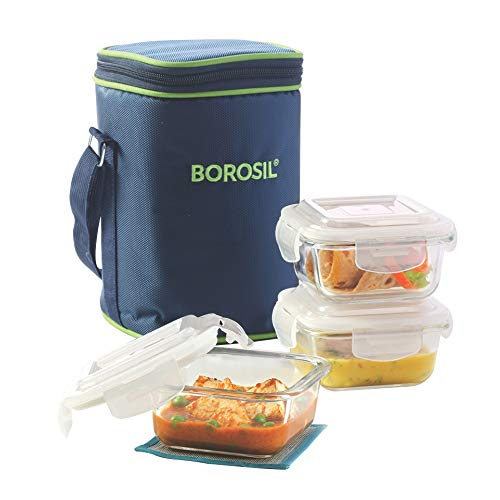 Borosil Glass Lunch Box Set of 3, 320 ml,Microwave Safe Office Tiffin
