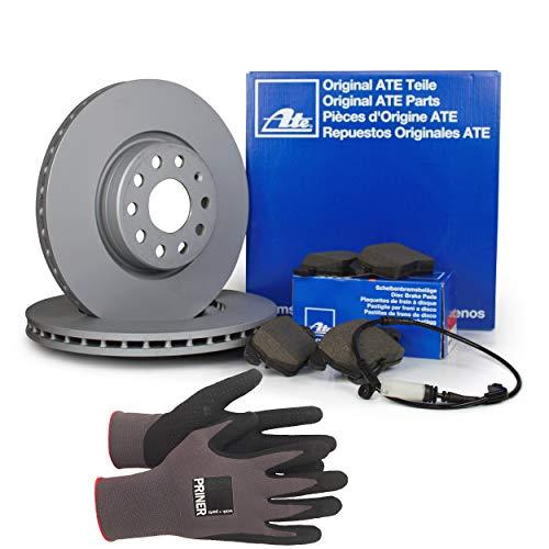 Inspektionspaket ATE Bremsen Set inkl. Bremsscheiben und Bremsbeläge mit Warnkontakt für vorne Ø 300 mm enthalten, 100% passend für Ihr Fahrzeug, inkl. Priner Montagehandschuhe, AN201