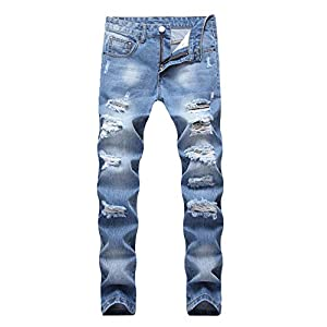 Men's Ripped Distressed Destroyed Straight Fit Washed Denim Jeans
