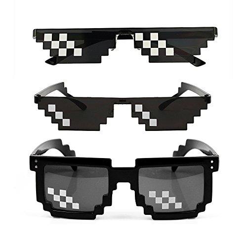 [3 Pack] Thug Life Sonnenbrille, Männer Frauen Glas 8 Bit Pixel Mosaik Gläser Foto Requisiten Unisex Sonnenbrille Spielzeug - Schwarz