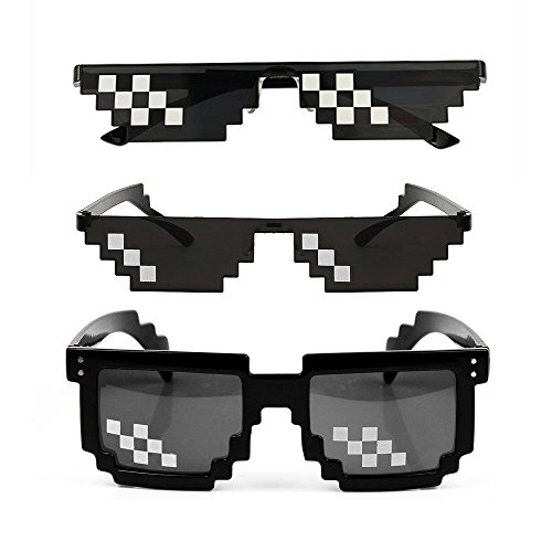 YSSHUI [3 unidades] Thug Life Gafas de sol, para hombres y mujeres, de vidrio, 8 bits  Mosaico Pixelado Unisex gafas de sol, juguete – negro.