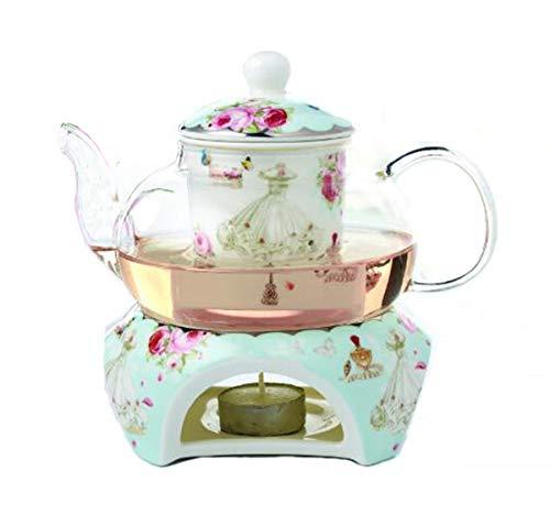 YBK Tech Teekanne aus Knochenporzellan und Glas, mit Stövchen und Tee-Ei, Blau (Rosen- und Kleidmuster)