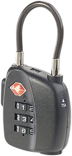 PEARL Kofferzahlenschloss: TSA-Koffer-Zahlenschloss mit flexiblem Stahlkabel & 3-stelligem Code (TSA Schloss)