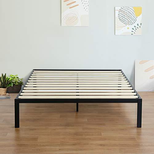 Olee Sleep 14 Inch Modern Metal Platform Bed Frame / Mattress Foundation / Wood Slat Support / No Box Spring Needed, Full,VC14BX15F,Black